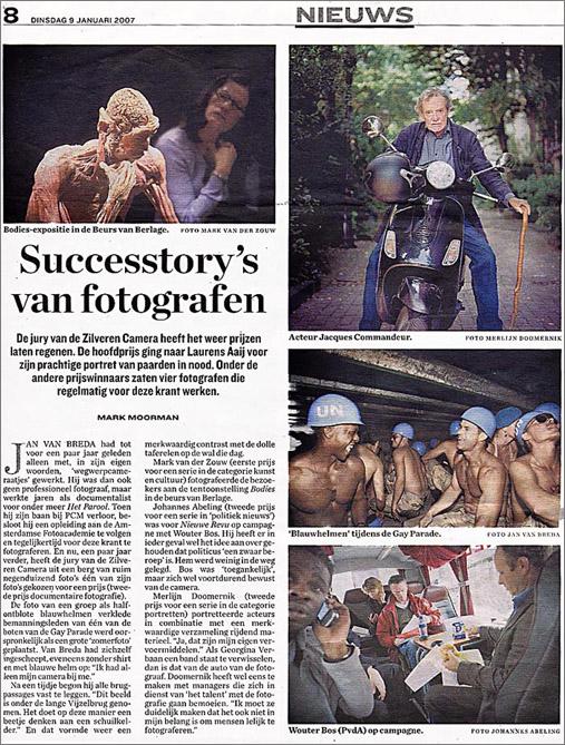 Parool artikel Jan van Breda Zilveren Camera 2006 © Mark Moorman / Het Parool